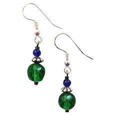 GORGEOUS Czech Art Glass Earrings, RARE 1950's Emerald Green Faceted Czech Glass Beads