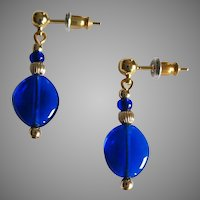 GORGEOUS Venetian Art Glass Earrings, RARE 1940's Cobalt Blue Venetian Glass Beads