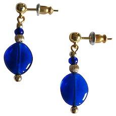 GORGEOUS Venetian Art Glass Earrings, RARE 1940's Cobalt Blue Venetian Glass Beads