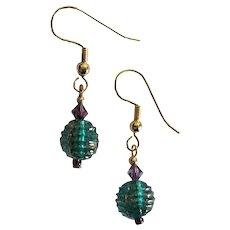 STUNNING Venetian Glass Earrings, RARE 1930's Venetian Glass Beads