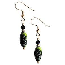 MOD Czech Art Glass Earrings, RARE 1960's Olivine Czech Glass Beads