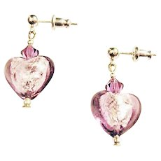 STUNNING Venetian Art Glass Earrings, Silver Foil Hearts, Amethyst Murano Glass Beads