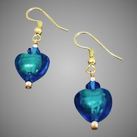 GORGEOUS Venetian Art Glass Earrings, Aqua 24K Gold Foil Murano Glass Hearts