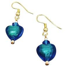 GORGEOUS Venetian Art Glass Earrings, Aqua 24K Gold Foil Murano Glass Hearts