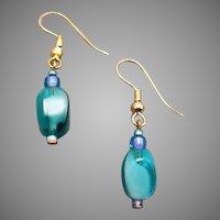 GORGEOUS Czech Art Glass Earrings, RARE 1960's Czech Glass Beads