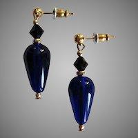 GORGEOUS Czech Art Glass Earrings, RARE 1930's Czech Glass Beads