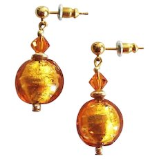 DAZZLING Venetian Art Glass Earrings, 24K Gold Foil Murano Glass Beads