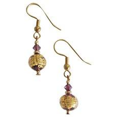 GORGEOUS Venetian Art Glass Earrings, 24k Gold Foil Murano Glass Lampwork Beads