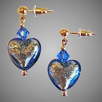 STUNNING Venetian Art Glass Earrings, Sapphire 24K Gold Foil Murano Glass Hearts