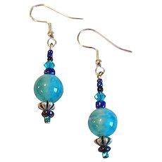 GORGEOUS Art Deco Venetian Glass Earrings, RARE 1930's Teal Satin Glass Venetian Beads