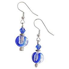 DAZZLING Venetian Art Glass Earrings, Blue and Silver Foil Murano Glass Beads