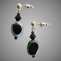 STRIKING Czech Art Glass Earrings, RARE 1960's Czech Glass Beads