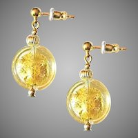 ELEGANT Venetian Art Glass Earrings, 24K Gold Foil Murano Glass Beads