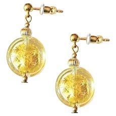 ELEGANT Venetian Art Glass Earrings, 24K Gold Foil Murano Glass Beads