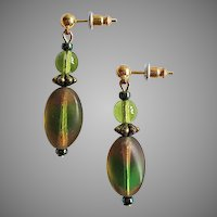 STRIKING Czech Art Glass Earrings, RARE 1930's Czech Satin Glass Beads