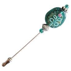 GORGEOUS Czech Art Glass Stick Pin, RARE 1970's Czech Aventurine Glass Bead, Flower Decoration, Hat Pin