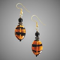 MOD Czech Art Glass Earrings, RARE 1960's Czech Tiger Stripe Glass Beads