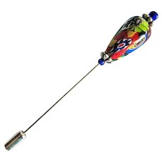 GORGEOUS Millefiori Venetian Art Glass Stick Pin, RARE 1800's Venetian Glass Bead, Antique Bead, Hat Pin