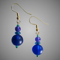 MOD Czech Art Glass Earrings, RARE 1960's Czech Glass Beads, Brilliant Cobalt Blue Frosted Czech Beads