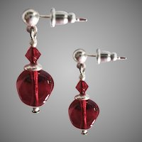 GORGEOUS Czech Art Glass Earrings, RARE 1930's Red Czech Glass Beads