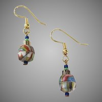 STRIKING Czech Art Glass Earrings, RARE 1930's Faceted Czech Glass Beads