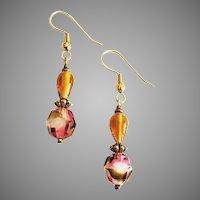 STRIKING Czech Art Glass Earrings, RARE 1930's Faceted Czech Glass Beads
