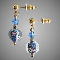 GORGEOUS Venetian Art Glass Earrings, RARE 1970's Aventurine Murano Glass Beads