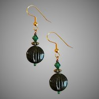 STRIKING Czech Art Glass Earrings, RARE 1930's Czech Glass Beads