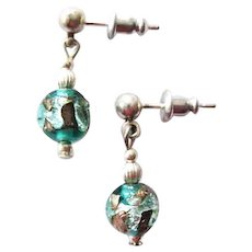 GORGEOUS Venetian Art Glass Earrings, RARE Antique Silver Foil Venetian Glass Beads