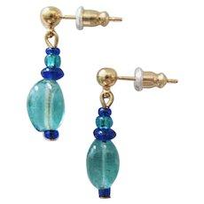 STUNNING Czech Art Glass Earrings, RARE 1950's Czech Glass Beads