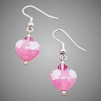 GORGEOUS Venetian Millefiori Art Glass Earrings, Murano Glass Heart Beads