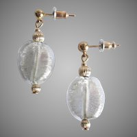 STUNNING Venetian Art Glass Earrings, 24K White Gold Foil Murano Glass Beads