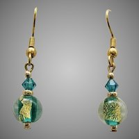 GORGEOUS Venetian Art Glass Earrings, 24k Gold Foil Lampwork Murano Glass Beads