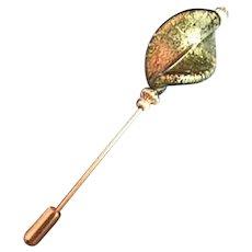 STUNNING 24K Gold Foil Venetian Glass Stick Pin, Olivine Murano Glass Foil Bead, Hat Pin
