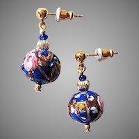 EXQUISITE Venetian Art Glass Earrings, RARE 1930's Aventurina Wedding Cake Beads