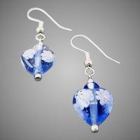 STUNNING Venetian Millefiori Art Glass Earrings, Murano Glass Heart Beads