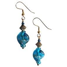 GORGEOUS Aventurine Venetian Art Glass Earrings, Turquoise Aventurina Murano Glass Beads
