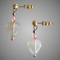 STUNNING Czech Art Glass Earrings, RARE 1960's Czech Glass Heart Beads