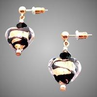GORGEOUS Venetian Art Glass Earrings, 24K Gold Foil Murano Glass Hearts