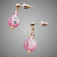 STUNNING Czech Art Glass Earrings, Vintage Czech Rose Lampwork Glass Beads