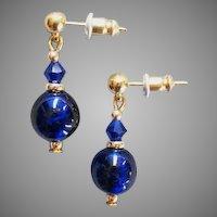 STUNNING Venetian Art Glass Earrings, RARE 1930's Cobalt Blue Venetian Glass Beads