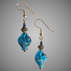 GORGEOUS Aventurine Venetian Art Glass Earrings, Capri Aventurina Murano Glass Beads