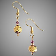 GORGEOUS Venetian Art Glass Earrings, 24k Gold Foil Murano Glass Lampwork Beads