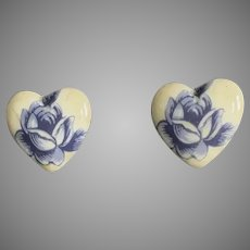 STUNNING Czech Art Glass Pierced Earrings, RARE 1960's Czech Glass Heart Beads