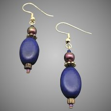 STRIKING German Satin Glass Earrings, RARE 1930's German Glass Beads