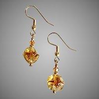 STUNNING Czech Art Glass Earrings, RARE 1960's Czech Amber Glass Beads