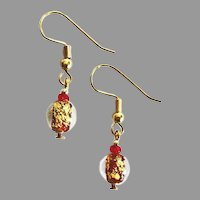 GORGEOUS Venetian Art Glass Earrings, 24k Gold Foil Lampwork Murano Glass Beads