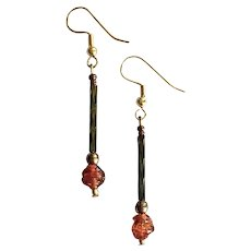 STUNNING Venetian Art Glass Earrings, RARE 1800's Antique Venetian Glass Beads