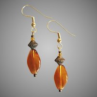 STRIKING Czech Art Glass Earrings, RARE 1930's Amber Czech Beads