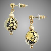 DAZZLING Venetian Art Glass Earrings, 24K Gold Foil Murano Glass Beads